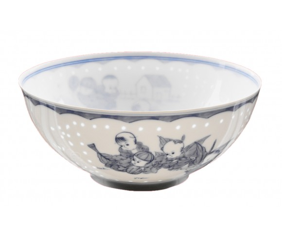 Famille Rose Blue and White Porcelain Bowl