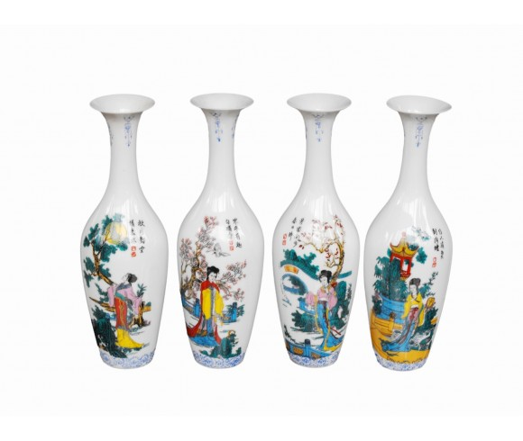 Chinese Ancient Four Beauties Famille Rose Porcelain Vase Set