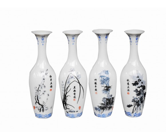 Pum,Orchid, Baboom and Chrysanthemum Chinese Ink and Wash Small Porcelain Vase Set