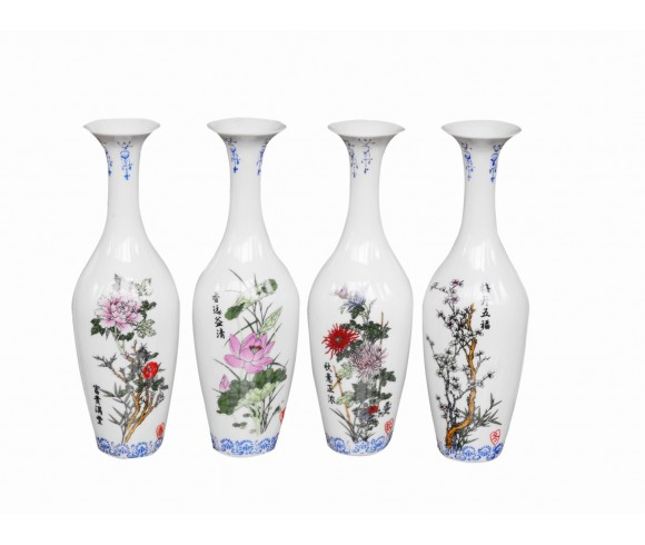 Four Season Flowers Famille Rose Porcelain Vase Set