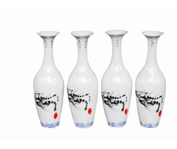 Qibaishi Shrimp Famille Rose Eggshell Vase Set