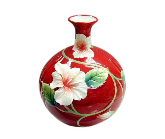 Red Flower Enamel Pot