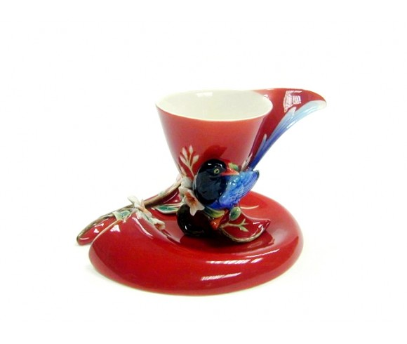 Red Bird Enamel Cup