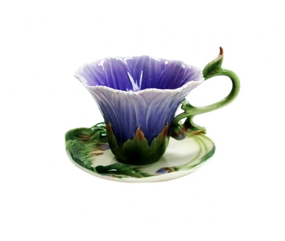 Purple Flower Enamel Cup