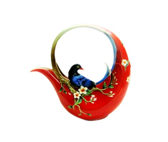 Red Magpie Enamel Pot