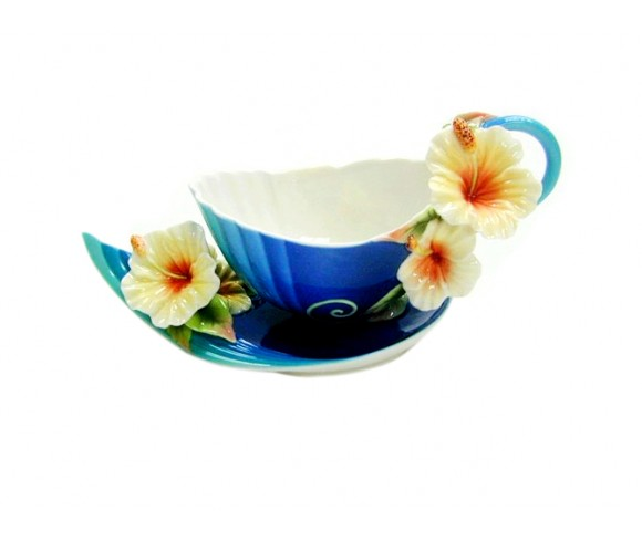 Blue Flower Enamel Cup