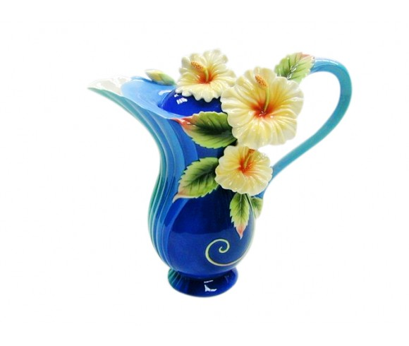 Blue Flower Enamel Pot