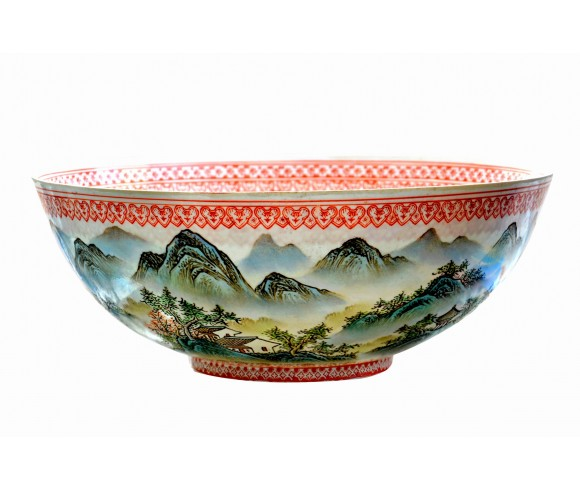 Large Famille Rose Mountain Painting Eggshell Porcelain Bowl