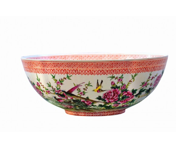 Famille Rose Flower Bird Eggshell Porcelain Bowl
