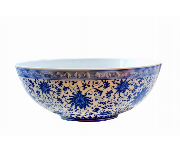 Medium Blue and White Eggshell Porcelain Bowl
