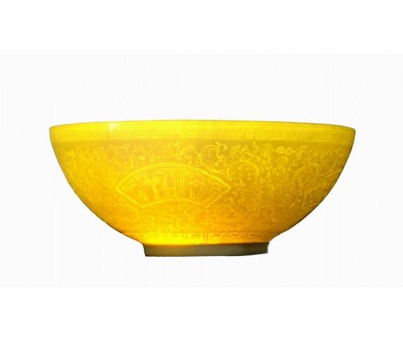 Golden Colored Eggshell Porcelain Bowl