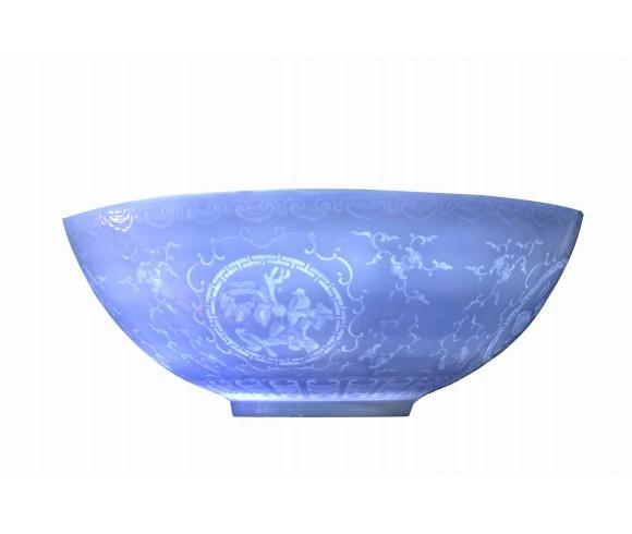 Blue Colored Eggshell Porcelain Bowl