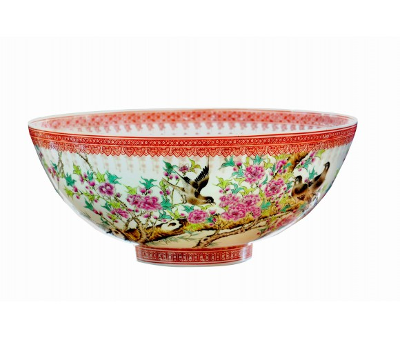 Large Spring Magpie Eggshell Porcelain Bowl